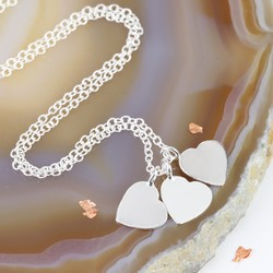 Sterling Silver Triple Heart Charm Necklace