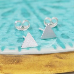 Tiny Brushed Sterling Silver Triangle Stud Earrings