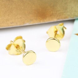Tiny Gold Plated Sterling Silver Disc Stud Earrings