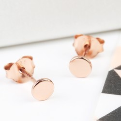 Tiny Rose Gold Plated Sterling Silver Disc Stud Earrings