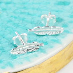 Tiny Sterling Silver Feather Stud Earrings