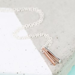 Tiny Sterling Silver Mixed Metal Double Bar Necklace
