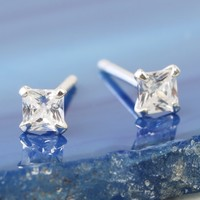 Tiny Sterling Silver Square Crystal Stud Earrings