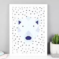 Illustrated Geometric Bear A4 Print