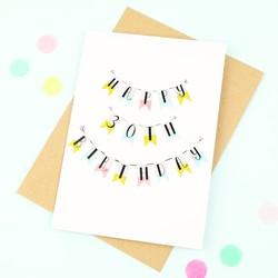 'Happy 30th Birthday' Bunting Card