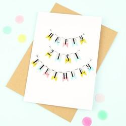 'Happy 21st Birthday' Bunting Card