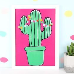 Tropical Cactus A4 Illustrated Print