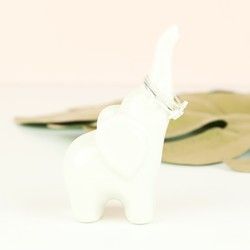 White Ceramic Elephant Ring Holder