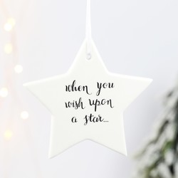 'Wish Upon a Star' Hanging Ceramic Star Decoration