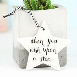 'Wish Upon a Star' Hanging Ceramic Star Decoration