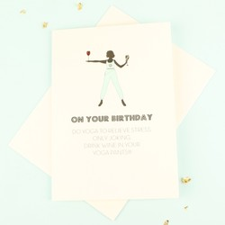 Five Dollar Shake 'Do Yoga' Birthday Card