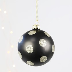 Gisela Graham Black and Gold Polka Dot Bauble