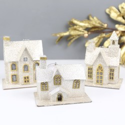 Gisela Graham Glittery House Hanging Decoration