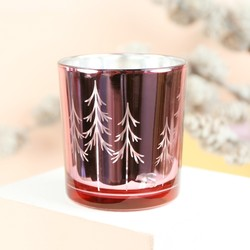 Metallic Pink Trees Candle Holder