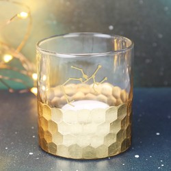 Gold Hammered Constellation Candle Holder