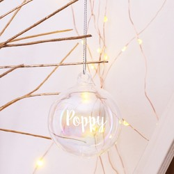 Personalised Iridescent Glass Bubble Bauble