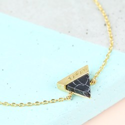 Personalised Black Marble Triangle Bracelet in Gold