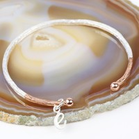 Personalised Dipped Antique Effect Bar Bangle