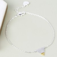 Personalised Silver Dipped in Gold Triangle Bracelet