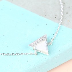 Personalised White Marble Triangle Bracelet in Silver