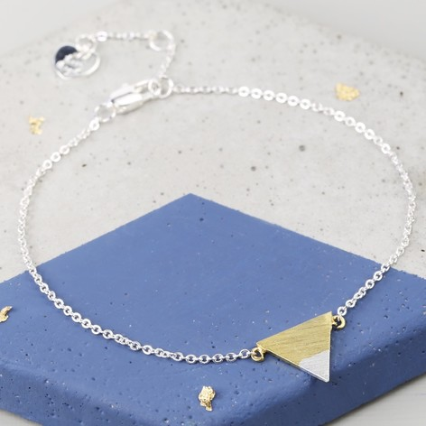 Gold Dipped in Silver Triangle Bracelet