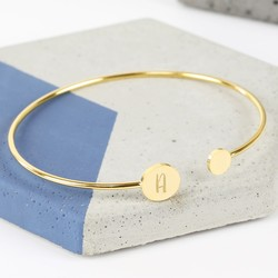 Personalised Double Disc Gold Bangle