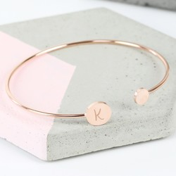 Personalised Double Disc Rose Gold Bangle