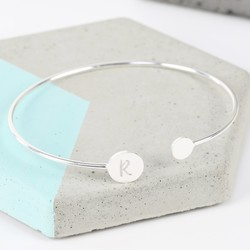 Personalised Double Disc Silver Bangle