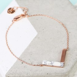 Rose Gold and White Marble Chevron Bracelet