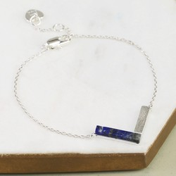 Silver and Blue Lapis Chevron Bracelet