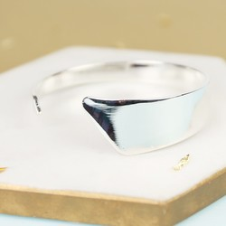 Silver Asymmetric Open Bangle