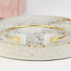 Square New Jade Feature Gold Bangle