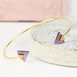 Triangle Amethyst Feature Gold Bangle