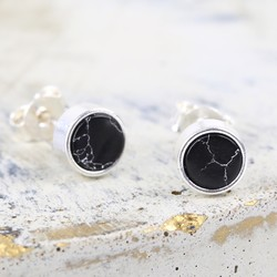 Silver and Black Marble Disc Stud Earrings