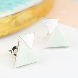 Amazonite Double Triangle Stud Earrings