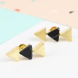 Black Marble Triple Triangle Stud Earrings