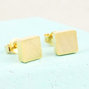 Brushed Gold Square Stud Earrings