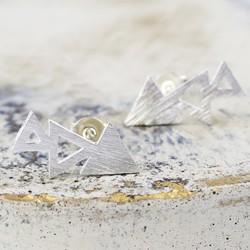 Brushed Silver Triple Triangle Stud Earrings