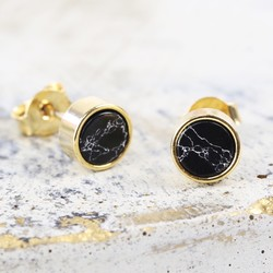 Gold and Black Marble Disc Stud Earrings