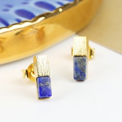 Gold Bar and Blue Lapis Earrings