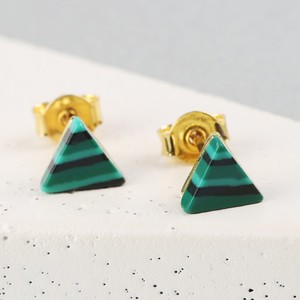 Gold and Green Malachite Triangle Stud Earrings
