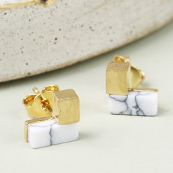 Gold and White Marble Chevron Stud Earrings