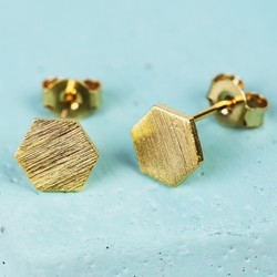 Gold Hexagonal Stud Earrings
