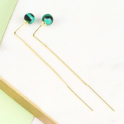 Green Malachite Ball and Chain Earrings