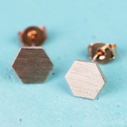 Rose Gold Hexagonal Stud Earrings