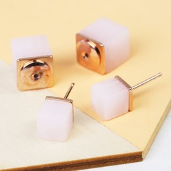 Rose Quartz Double Cube Earrings in Rose Gold