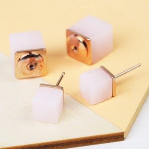 Rose Quartz Double Cube earrings In Rose Gold