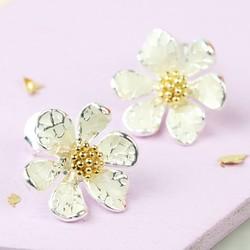 Silver and Enamel Flower Stud Earrings