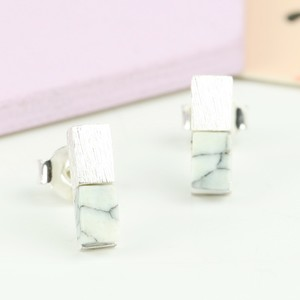 Silver Bar and White Marble Earrings