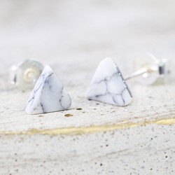 Silver and White Marble Triangle Stud Earrings